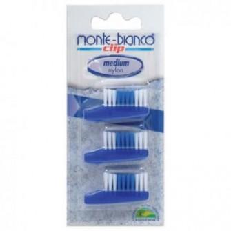 Set 3 capete de schimb, nylon, medium, albastru pentru periuta Monte Bianco