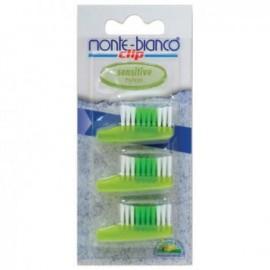 Set 3 capete de schimb, nylon, sensitive, verde pentru periuta Monte Bianco