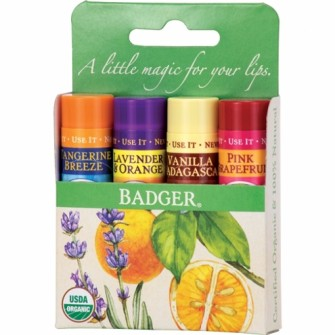 Set 4 balsamuri  de buze, Green Kit, Badger