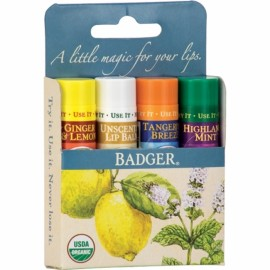 Set 4 balsamuri de buze, Blue Kit, Badger
